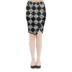 Square2 Black Marble & Silver Foil Midi Wrap Pencil Skirt