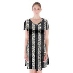 Stripes1 Black Marble & Silver Foil Short Sleeve V Neck Flare Dress