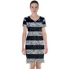 Stripes2 Black Marble & Silver Foil Short Sleeve Nightdress