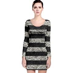Stripes2 Black Marble & Silver Foil Long Sleeve Velvet Bodycon Dress