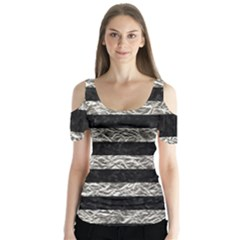 Stripes2 Black Marble & Silver Foil Butterfly Sleeve Cutout Tee