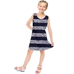Stripes2 Black Marble & Silver Foil Kids  Tunic Dress