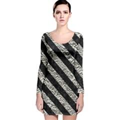 Stripes3 Black Marble & Silver Foil Long Sleeve Velvet Bodycon Dress
