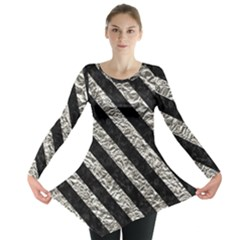 Stripes3 Black Marble & Silver Foil Long Sleeve Tunic