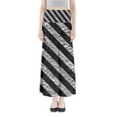 Stripes3 Black Marble & Silver Foil Full Length Maxi Skirt