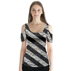 Stripes3 Black Marble & Silver Foil Butterfly Sleeve Cutout Tee