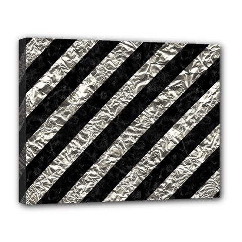 Stripes3 Black Marble & Silver Foil (r) Canvas 14  X 11