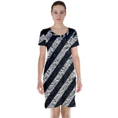 Stripes3 Black Marble & Silver Foil (r) Short Sleeve Nightdress