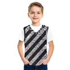 Stripes3 Black Marble & Silver Foil (r) Kids  Sportswear