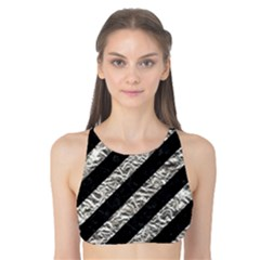 Stripes3 Black Marble & Silver Foil (r) Tank Bikini Top