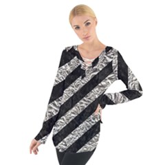 Stripes3 Black Marble & Silver Foil (r) Tie Up Tee