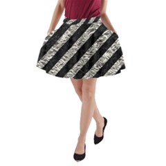 Stripes3 Black Marble & Silver Foil (r) A Line Pocket Skirt
