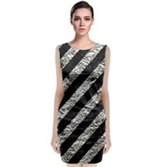 Stripes3 Black Marble & Silver Foil (r) Classic Sleeveless Midi Dress