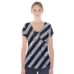 Stripes3 Black Marble & Silver Foil (r) Short Sleeve Front Detail Top