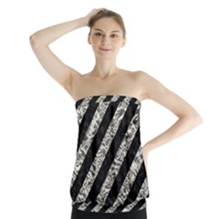 Stripes3 Black Marble & Silver Foil (r) Strapless Top
