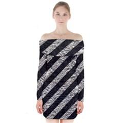Stripes3 Black Marble & Silver Foil (r) Long Sleeve Off Shoulder Dress