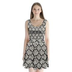 Tile1 Black Marble & Silver Foil Split Back Mini Dress