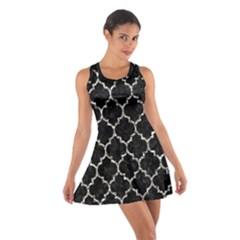 Tile1 Black Marble & Silver Foil (r) Cotton Racerback Dress