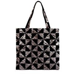 Triangle1 Black Marble & Silver Foil Zipper Grocery Tote Bag