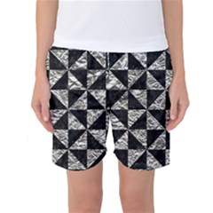 Triangle1 Black Marble & Silver Foil Women s Basketball Shorts