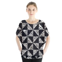 Triangle1 Black Marble & Silver Foil Blouse