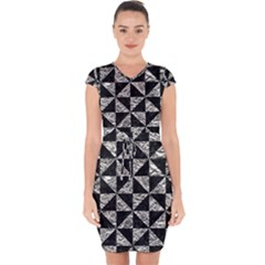 Triangle1 Black Marble & Silver Foil Capsleeve Drawstring Dress
