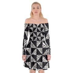 Triangle1 Black Marble & Silver Foil Off Shoulder Skater Dress