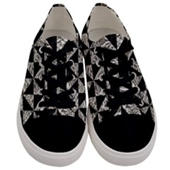 Triangle1 Black Marble & Silver Foil Men s Low Top Canvas Sneakers