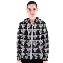 Triangle2 Black Marble & Silver Foil Women s Zipper Hoodie