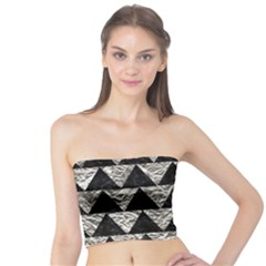 Triangle2 Black Marble & Silver Foil Tube Top