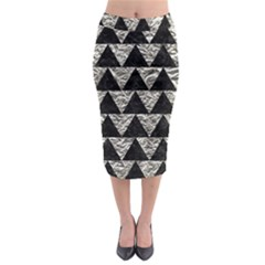 Triangle2 Black Marble & Silver Foil Midi Pencil Skirt