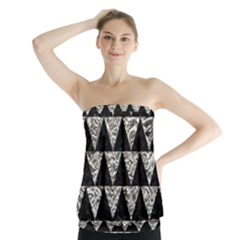 Triangle2 Black Marble & Silver Foil Strapless Top
