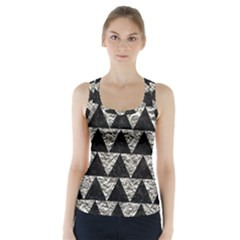 Triangle2 Black Marble & Silver Foil Racer Back Sports Top