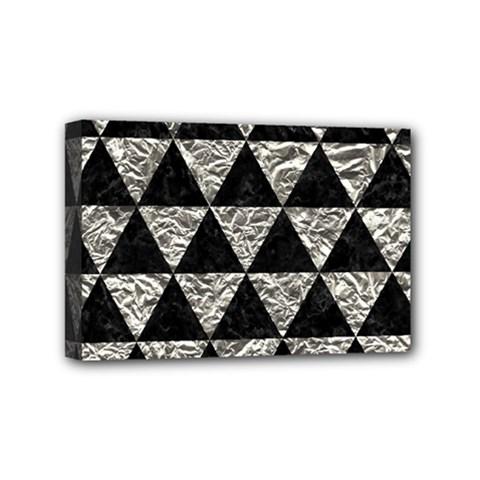 Triangle3 Black Marble & Silver Foil Mini Canvas 6  X 4
