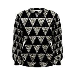Triangle3 Black Marble & Silver Foil Women s Sweatshirt