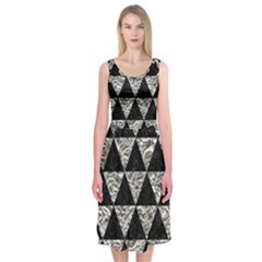 Triangle3 Black Marble & Silver Foil Midi Sleeveless Dress