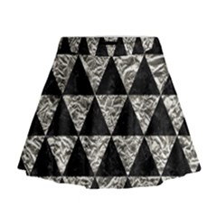 Triangle3 Black Marble & Silver Foil Mini Flare Skirt