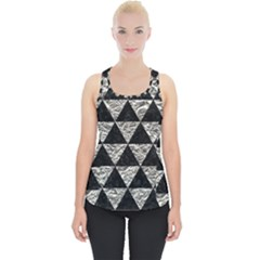 Triangle3 Black Marble & Silver Foil Piece Up Tank Top
