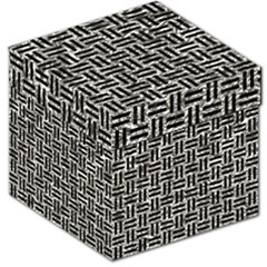 Woven1 Black Marble & Silver Foil Storage Stool 12