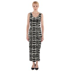 Woven1 Black Marble & Silver Foil Fitted Maxi Dress