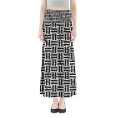 Woven1 Black Marble & Silver Foil Full Length Maxi Skirt