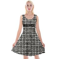 Woven1 Black Marble & Silver Foil Reversible Velvet Sleeveless Dress