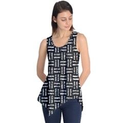 Woven1 Black Marble & Silver Foil (r) Sleeveless Tunic