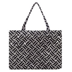 Woven2 Black Marble & Silver Foil Zipper Medium Tote Bag