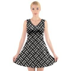 Woven2 Black Marble & Silver Foil (r) V Neck Sleeveless Skater Dress