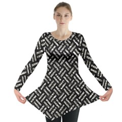 Woven2 Black Marble & Silver Foil (r) Long Sleeve Tunic