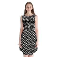 Woven2 Black Marble & Silver Foil (r) Sleeveless Chiffon Dress