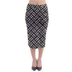 Woven2 Black Marble & Silver Foil (r) Midi Pencil Skirt
