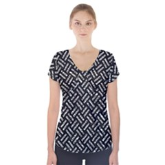 Woven2 Black Marble & Silver Foil (r) Short Sleeve Front Detail Top