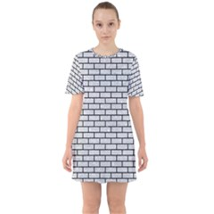 Brick1 Black Marble & Silver Glitter Sixties Short Sleeve Mini Dress
